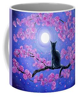 Russian Blue Cat In Pink Flowers Coffee Mug