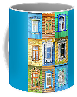Coffee Mug featuring the photograph Russian Windows by Delphimages Photo Creations