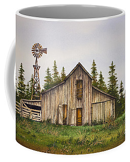 Coffee Mug featuring the painting Rustic Barn by James Williamson