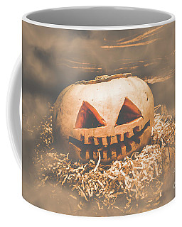 Rustic Barn Pumpkin Head In Horror Fog Coffee Mug