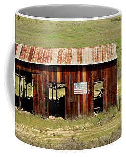 Coffee Mug featuring the photograph Rustic Barn With Flag by Art Block Collections