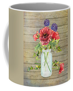 Rustic Country Red Poppy W Alium N Ivy In A Mason Jar Bouquet On Wooden Fence Coffee Mug by Audrey Jeanne Roberts