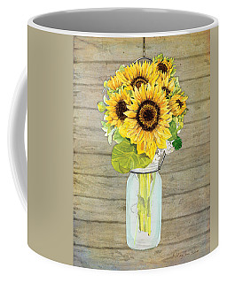 Rustic Country Sunflowers In Mason Jar Coffee Mug by Audrey Jeanne Roberts