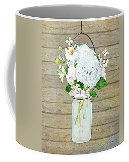 Rustic Country White Hydrangea N Matillija Poppy Mason Jar Bouquet On Wooden Fence Coffee Mug