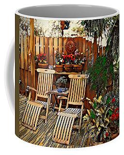 Coffee Mug featuring the digital art Rustic Deck by Pennie McCracken