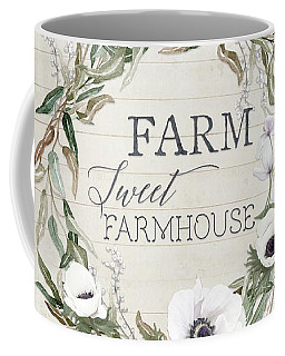 Rustic Farm Sweet Farmhouse Shiplap Wood Boho Eucalyptus Wreath N Anemone Floral Coffee Mug