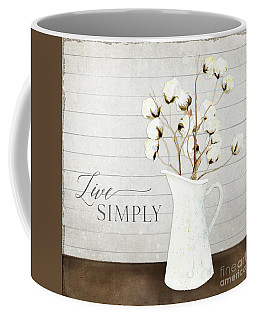 Rustic Farmhouse Cotton Boll Milk Pitcher Live Simply Coffee Mug