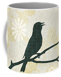 Rustic Green Bird Silhouette Coffee Mug