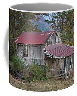 Coffee Mug featuring the photograph Rustic Weathered Hillside Barn by John Stephens
