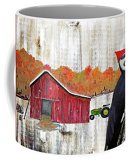 Rustic Woodpecker Autumn Barn Art Coffee Mug
