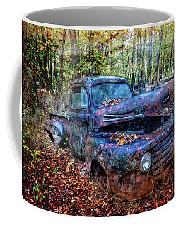 Coffee Mug featuring the photograph Rusty Blue Vintage Ford  Truck by Debra and Dave Vanderlaan