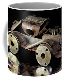 Coffee Mug featuring the photograph Rusty Rat Rod Toy by Wilma Birdwell