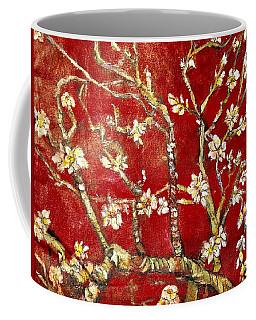 Coffee Mug featuring the painting Sac Rouge Avec Fleurs D'almandiers by Belinda Low