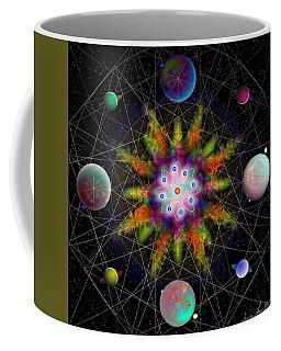 Coffee Mug featuring the digital art Sacred Planetary Geometry - Dark Red Atom by Iowan Stone-Flowers