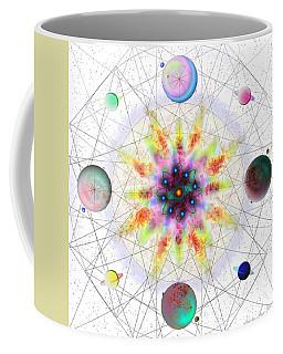 Coffee Mug featuring the digital art Sacred Planetary Geometry - Red Atom Light by Iowan Stone-Flowers