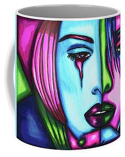 Sad Crying Woman Face Abstract Art Coffee Mug