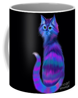 Coffee Mug featuring the painting Sad Eyed Colorful Cat by Nick Gustafson