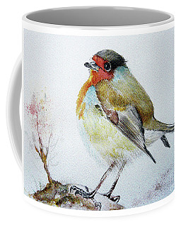 Coffee Mug featuring the painting Sad Robin by Jasna Dragun