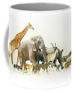 Safari Animals Walking Side Horizontal Banner Coffee Mug