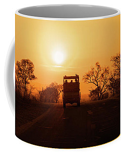 Safari Vehicle At Sunset Coffee Mug