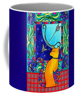 Coffee Mug featuring the painting Sagittarius Cat Zodiac by Dora Hathazi Mendes