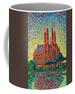 Sagrada Familia Barcelona Modern Impressionist Palette Knife Oil Painting By Ana Maria Edulescu Coffee Mug by Ana Maria Edulescu