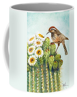 Coffee Mug featuring the painting Saguaro And Cactus Wren by Marilyn Smith