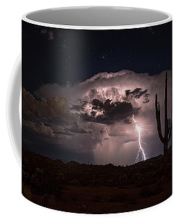 Coffee Mug featuring the photograph Saguaro Lit Up By The Lightning  by Saija Lehtonen