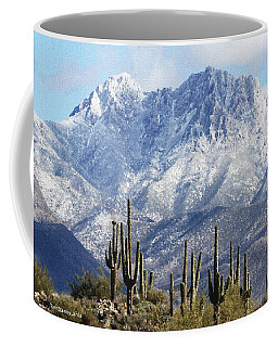 Saguaros At Four Peaks With Snow Coffee Mug