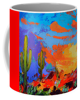 Saguaros Land Sunset By Elise Palmigiani - Square Version Coffee Mug