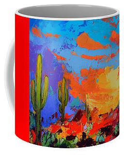Saguaros Land Sunset By Elise Palmigiani - Square Version Coffee Mug