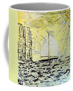 Coffee Mug featuring the painting Sail And Sunrays by J R Seymour