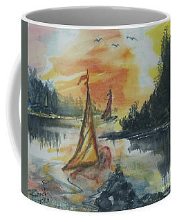 Coffee Mug featuring the painting Sail Away by Reed Novotny