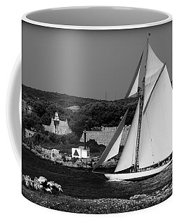 sailboat - a one mast classical vessel sailing in one of the most beautiful harbours Port Mahon Coffee Mug by Pedro Cardona