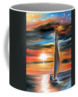 Sailboat And Sunset Coffee Mug by Darren Cannell