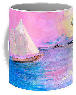 Sailboat In Pink Moonlight  Coffee Mug by Robin Maria Pedrero