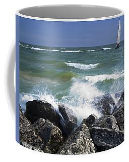 Sailboat Sailing Off The Shore At Ottawa Beach State Park Coffee Mug