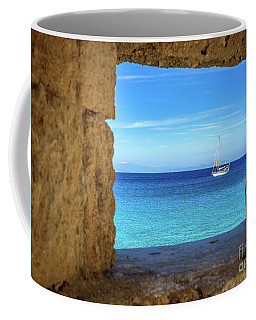 Sailboat Through The Old Stone Walls Of Rhodes, Greece Coffee Mug