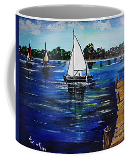 Sailboats And Pier Coffee Mug