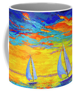 Coffee Mug featuring the painting Sailboats At Sunset, Colorful Landscape, Impressionistic Art by Patricia Awapara