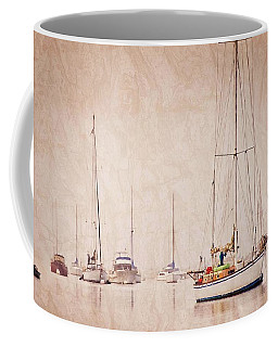 Sailboats In Morro Bay Fog Coffee Mug