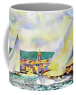 Sailing Boats At Sea St. Tropez, Local Contrast Coffee Mug