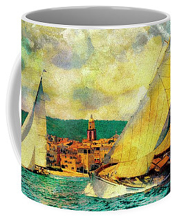 Sailing Boats At Sea St. Tropez Painting Coffee Mug