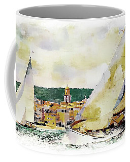 Sailing Boats At Sea St. Tropez, Tan Black Painted Border Coffee Mug