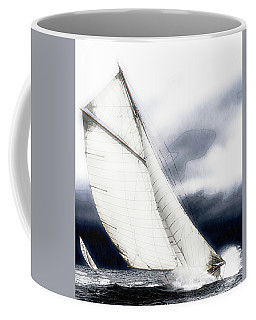 Sailing Boats At Sea, Watercolor Coffee Mug