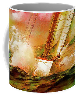 Sailing Boats At Sea, Watercolor Overlay Coffee Mug