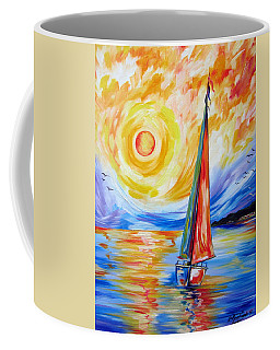 Sailing In The Hot Summer Sunset Coffee Mug