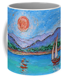 Coffee Mug featuring the painting Sailing Red Sun by Xueling Zou