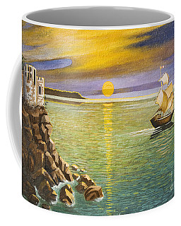 Sailing Ship And Castle Coffee Mug by Irina Afonskaya