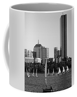 Sailing The Charles River Boston Ma Black And White Coffee Mug